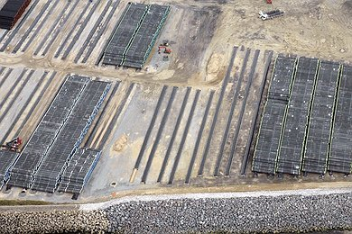 Aerial view of pipe joints stored at stock yard Mukran, Germany