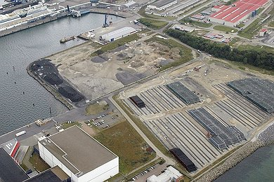 Aerial view of stock yard and EUPEC concrete coating plant at Mukran, Germany