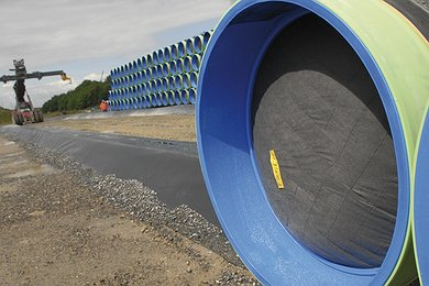 Storage of pipe joints at Mukran, Germany