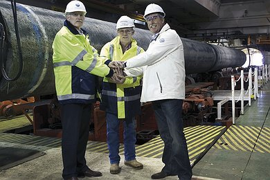 Nord Stream and Allseas executives on board the Solitaire