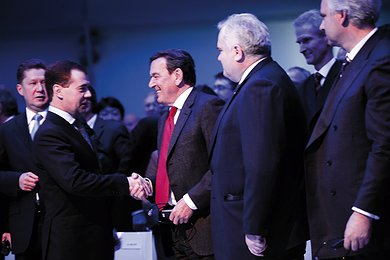 Dmitry Medvedev Shakes Hands with Gerhard Schröder and Others in Portovaya Bay